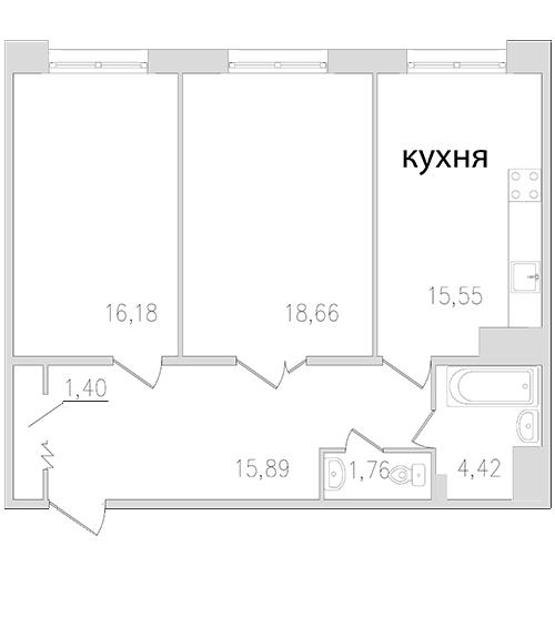 Планировка Двухкомнатная квартира площадью 73.86 кв.м в ЖК «Граф Орлов»