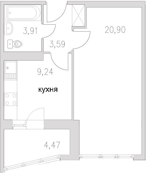 Планировка Однокомнатная квартира площадью 42.11 кв.м в ЖК «Граф Орлов»